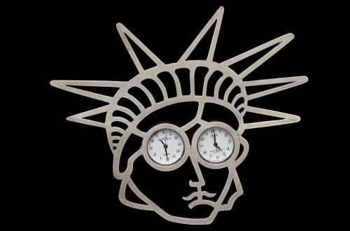 Gijs Bakker, Netherlands. <em>Liberty Brooch</em> 1997. Sterling silver 925, stainless-steel watches. 4.2 x 3.6 inches.  Photo: John Bigelow Taylor.
