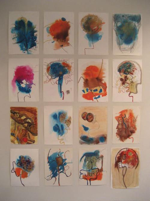 Susan Aldworth. <em>Location Drawings</em>, 2005–06. Acrylic inks on paper, 42 x 30 cm each (installation shot from 'Scribing the Soul' at Transition Gallery)