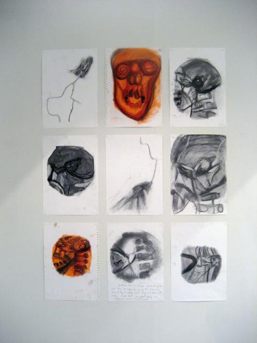 Susan Aldworth. <em>Location Drawings</em>, 2000–02. Charcoal and chalk paste on paper, 42 x 29.5 cm each (installation shot from <em>Scribing the Soul</em> at Transition Gallery)