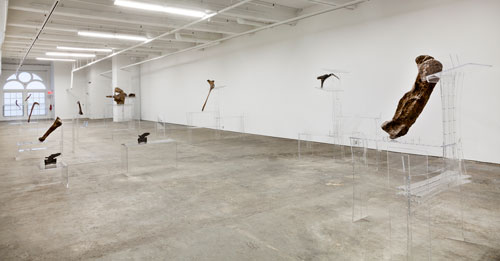 Allora & Calzadilla. Intervals (installation view 1), 2014. Re-configured acrylic lecterns and dinosaur bones. Dimensions variable. Courtesy of the artists. In collaboration with The Fabric Workshop and Museum, Philadelphia. Photograph: Carlos Avendaño.