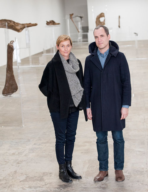 Allora & Calzadilla. Portrait of the artists. Background: Intervals, 2014. Re-configured acrylic