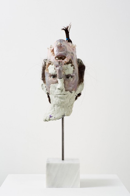 David Altmejd. Young Mother, 2015. Polyurethane foam, epoxy clay, epoxy gel, acrylic paint, quartz, resin, synthetic hair, synthetic lashes, glass eyes, steel, marble, 66 x 18 x 25 cm (26 x 7 1/8 x 9 7/8 in).