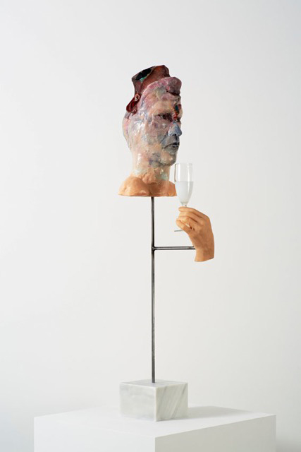 David Altmejd. To the Other, 2015. Polyurethane foam, epoxy gel, epoxy clay, resin, acrylic paint, glass eyes, glass, steel, marble,