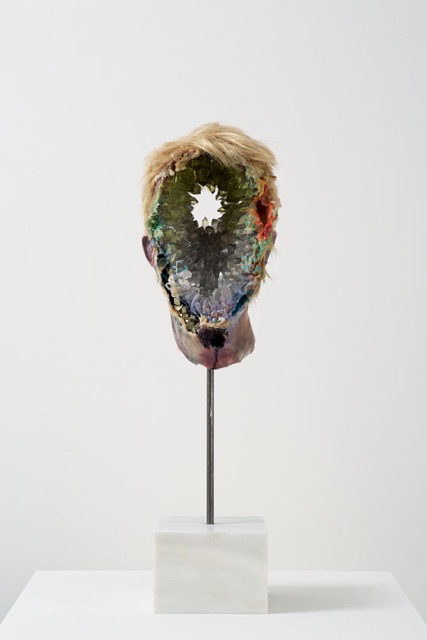 David Altmejd. Eye, 2015. Polyurethane foam, epoxy clay, epoxy gel, acrylic paint, synthetic hair, resin, glass stain, quartz, pyrite, celestite, amethyst, fluorite, steel, marble, 60 x 15.5 x 14 cm (23 5/8 x 6 1/8 x 5 1/2 in).