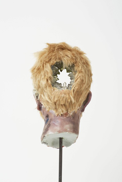 David Altmejd. Eye, 2015 (view 2). Polyurethane foam, epoxy clay, epoxy gel, acrylic paint, synthetic hair, resin, glass stain, quartz, pyrite, celestite, amethyst, fluorite, steel, marble, 60 x 15.5 x 14 cm (23 5/8 x 6 1/8 x 5 1/2 in).