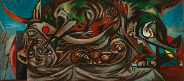Jackson Pollock. Untitled, c1938-41. Oil on linen, 56.5 x 127.5 cm. The Art Institute of Chicago, Major Acquisitions Centennial Fund; estate of Florene May Schoenborn; through prior acquisitions of Mr and Mrs Carter H Harrison, Marguerita S Ritman, Mr and Mrs Bruce Borland, and Mary L and Leigh B Block, 1998.522. © The Pollock-Krasner Foundation ARS, NY and DACS, London 2016.