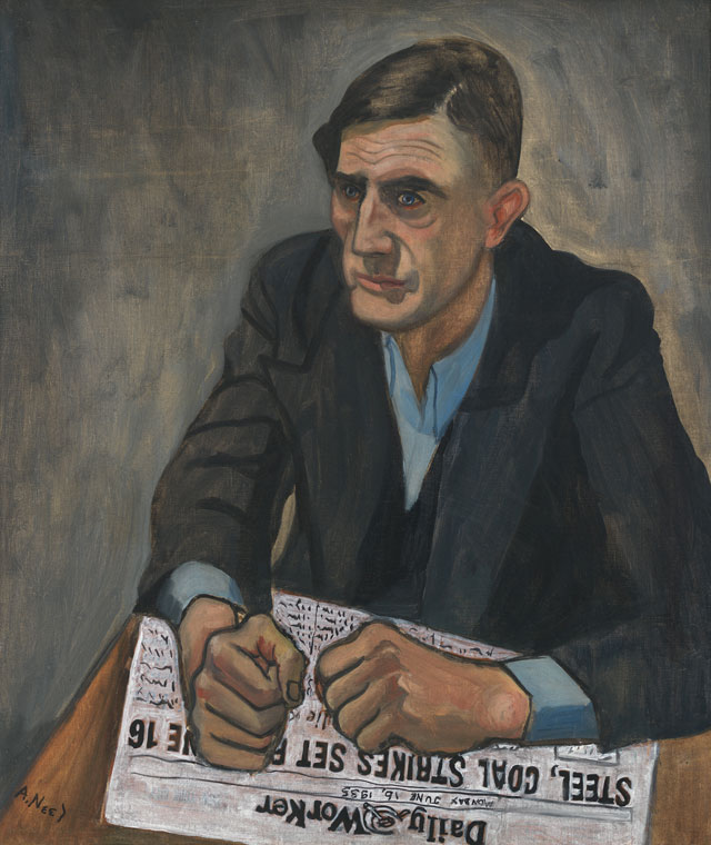 Alice Neel. Pat Whalen, 1935. Oil, ink and newspaper on canvas, 68.6 x 58.4 cm. Collection of Whitney Museum of American Art , New York, Gift of Dr. Hartley Neel. © The Estate of Alice Neel.