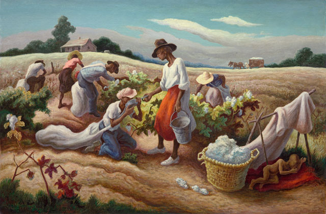 Thomas Hart Benton. Cotton Pickers, 1945. Oil on canvas, 81.3 x 121.9 cm. Prior bequest of Alexander Stewart; Centennial Major Acquisitions Income and Wesley M. Dixon Jr. funds; Roger and J. Peter McCormick Endowments; prior acquisition of the George F. Harding. © Benton Testamentary Trusts/UMB Bank Trustee/VAGA, NY/DACS, London 2016.