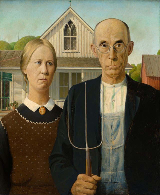 Grant Wood. American Gothic, 1930. Oil on beaver board, 78 x 65.3 cm. Friends of American Art Collection 1930.934, The Art Institute of Chicago.