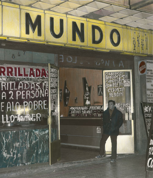 Leonora Vicuña. El Mundo, calle San Diego, Santiago de Chile, 1981. Gelatin silver print retouched with colored pencils, 41 x 35 cm
