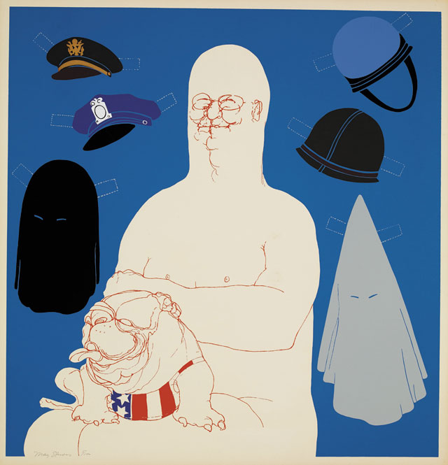 May Stevens. Big Daddy with Hats, 1971. Colour screenprint. © May Stevens. Reproduced by permission of the artist and Mary Ryan Gallery, New York.