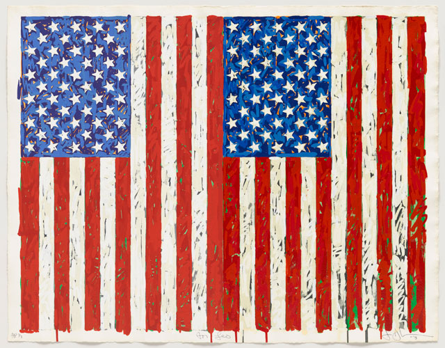 Jasper Johns. Flags I, 1973. Colour screenprint. Gift of Johanna and Leslie Garfield, on loan from the American Friends of the British Museum. © Jasper Johns/VAGA, New York/DACS, London 2016. © Tom Powel Imaging.