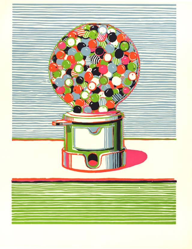 Wayne Thiebaud. Gumball Machine, 1970. Colour linocut. © Wayne Thiebaud/DACS, London/VAGA, New York 2016.