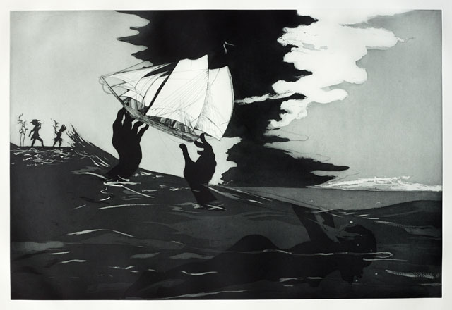 Kara Walker. no world from An Unpeopled Land in Uncharted Waters, 2010. Aquatint. © Kara Walker. Reproduced by permission of the artist.