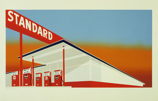 Edward Ruscha. Standard Station, 1966. Colour screenprint. The Museum of Modern Art, New York/Scala, Florence. © Ed Ruscha. Reproduced by permission of the artist.