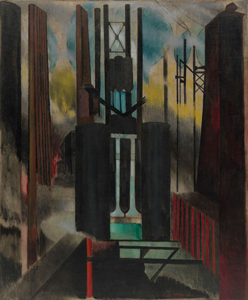 Joseph Stella. Factories, 1918. Oil on burlap, 142.2 x 116.8 cm. Acquired through the Lillie P. Bliss Bequest, 1943.