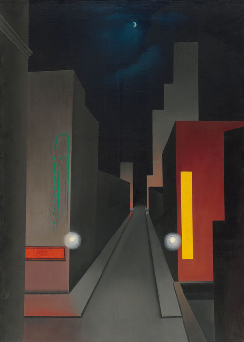 George Ault. New Moon, New York, 1945. Oil on canvas, 71.1 x 50.8 cm. The Museum of Modern Art, New York. Gift of Mr. and Mrs. Leslie Ault.