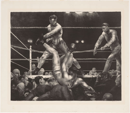 George Bellows. Dempsey and Firpo, 1923-24. Lithograph composition: 46 x 56.9 cm, sheet: 57.8 x 66 cm. Publisher: probably the artist, New York Printer: Bolton Brown, New York. Edition: 103. The Museum of Modern Art, New York. Abby Aldrich Rockefeller Fund Digital Image © The Museum of Modern Art, New York, Digital Imaging Studio.