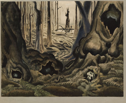 Charles Burchfield. The First Hepaticas, 1917–18. Watercolour, gouache, and pencil on paper, 54.6 x 69.8 cm. The Museum of Modern Art, New York. Gift of Abby Aldrich Rockefeller. Reproduced with permission of the Charles E. Burchfield Foundation.