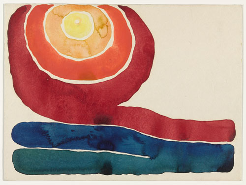 Georgia O'Keeffe. Evening Star, No. III, 1917. Watercolour on paper mounted on board, 22.7 x 30.4 cm. Mr and Mrs Donald B Straus Fund. © 2013 The Georgia O'Keeffe Foundation/Artists Rights Society (ARS), New York.