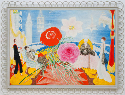 Florine Stettheimer. Family Portrait, II, 1933. Oil on canvas in artist's frame, 117.4 x 164 cm. The Museum of Modern Art, New York. Gift of Miss Ettie Stettheimer. © Estate of Florine Stettheimer.