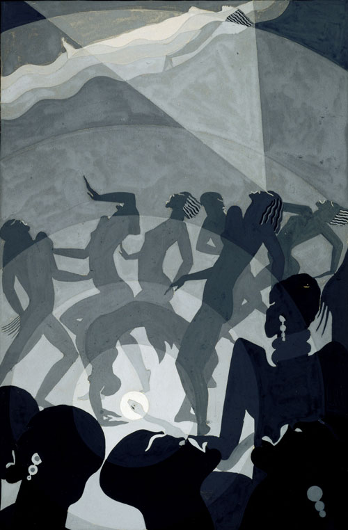 Aaron Douglas.<em> Congo</em>, c1928. Gouache and pencil on paperboard, 45.9 x 32.1 cm. North Carolina Museum of Art, Raleigh.