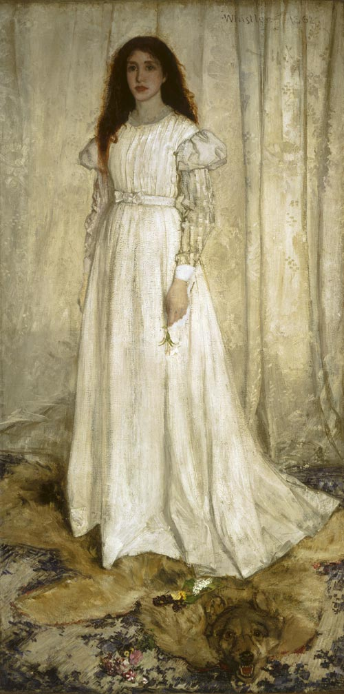 James Abbott McNeill Whistler (1834-1903). <em>Symphony in White, No. 1: The White Girl</em>, 1862. National Gallery of Art, Washington, DC. Harris Whittemore Collection, inv. 1943.6.2 inv. 1943.6.2 © National Gallery of Art, Washington, D.C. Image 2005 Board of Trustees.