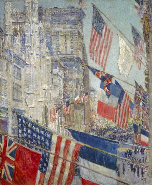 Frederick Childe Hassam (1859-1935). <em>Allies Day, May 1917</em>. National Gallery of Art, Washington, DC. Gift of Ethelyn McKinney in memory of her brother, Glenn Ford McKinney, inv. 1943.9.1 inv. 1943.9.1 © National Gallery of Art, Washington, DC. Image 2005 Board of Trustees.