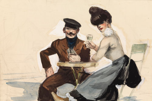 Edward Hopper. Couple Drinking, 1906-7. Watercolour, 34.3 x 50.5 cm. New York, Whitney Museum of American Art,