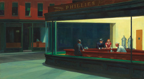 Edward Hopper. Nighthawks, 1942. Oil on canvas, 84.1 x 152.4 cm. Chicago, The Art Institute of Chicago, Friends of American Art Collection. © The Art Institute of Chicago.