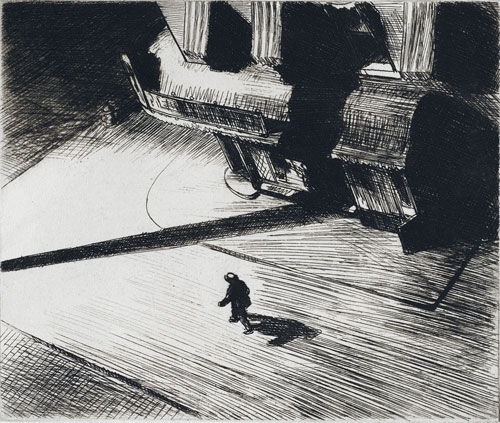 Edward Hopper. Night shadows, 1921. Etching, 17.5 x 21 cm. Philadelphia Museum of Art: Purchased with the Thomas Skelton Harrison Fund, 1962. © Philadelphia museum of art.