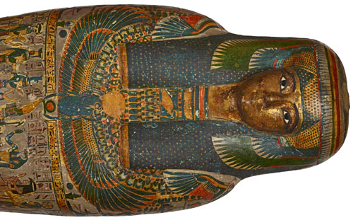 Cartonnage of a priestess, adult, casing with a gilded face, named Tayesmutengebtiu, also called Tamut. Found in Thebes, 22nd Dynasty (c900 BC). © Trustees of the British Museum.