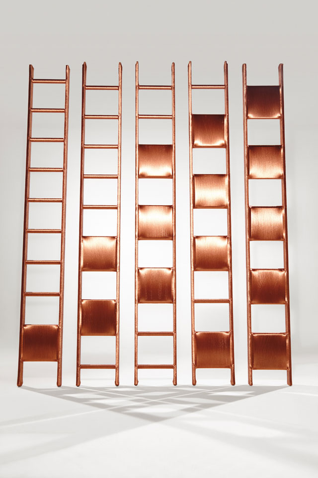 Alice Anderson. Ladders, 2014. Copper wire, 300 x 30 cm. Photograph © Matt Holyoke.