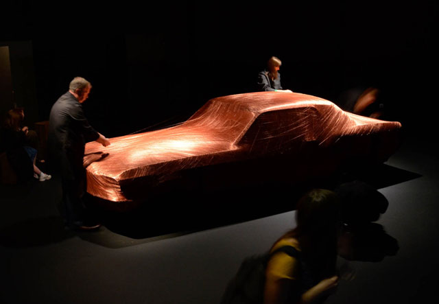 Alice Anderson. Ford Mustang (1968) in progress, 2105. Copper wire, 4.56  x 1.78 m. Wellcome Collection.