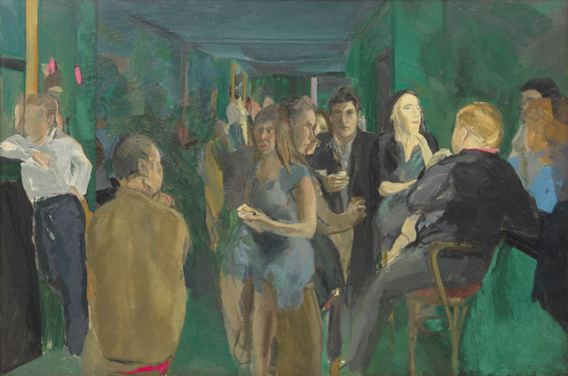 Michael Andrews. The Colony Room I, 1962. Oil on board, 121.9 x 182.8 cm (48 × 71 15/16 in). Collection of Pallant House Gallery. © The Estate of Michael Andrews, courtesy James Hyman Gallery, London. Photograph: Mike Bruce/Gagosian.