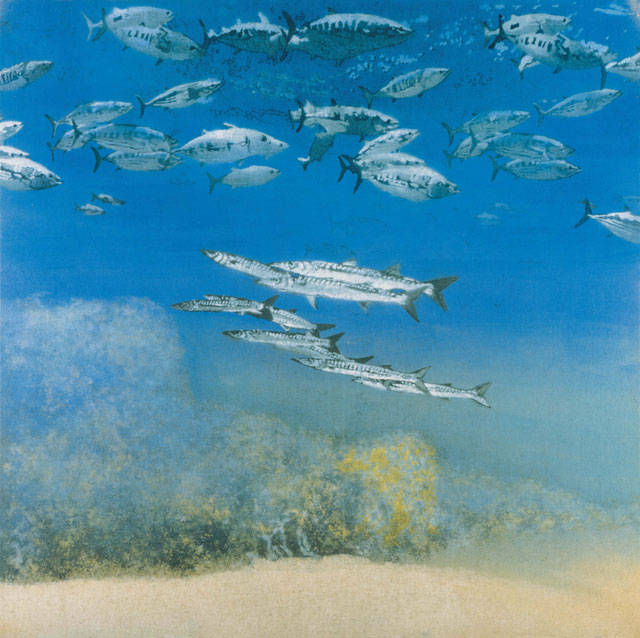 Michael Andrews. School IV: Barracuda under Skipjack Tuna, 1978. Acrylic on canvas, 175.2 x 175.2 cm (69 × 69 in). © The Estate of Michael Andrews, courtesy James Hyman Gallery, London.