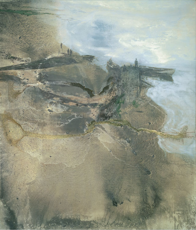 Michael Andrews. Thames Painting: The Estuary, 1994 – 1995. Oil and mixed media on canvas, 219.8 x 189.1 cm (86 9/16 × 74 7/16 in). Collection of Pallant House Gallery. © The Estate of Michael Andrews, courtesy James Hyman Gallery, London. Photograph: Mike Bruce/Gagosian