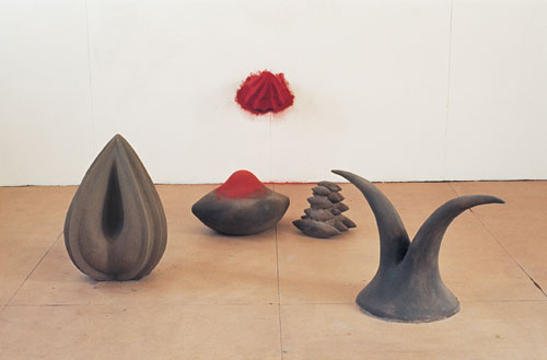 Anish Kapoor. <em>Red in the Centre</em>, 1982. Mixed media and pigment, dimensions variable. National Museums Liverpool, Walker Art Gallery, Purchased 1982. © the artist 2011.