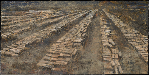 Anselm Kiefer. <em>Heliopolis</em> 2009. Acrylic, oil, shellac and sand on canvas, 110 1/4 x 224 7/16 inches (280 x 570 cm).