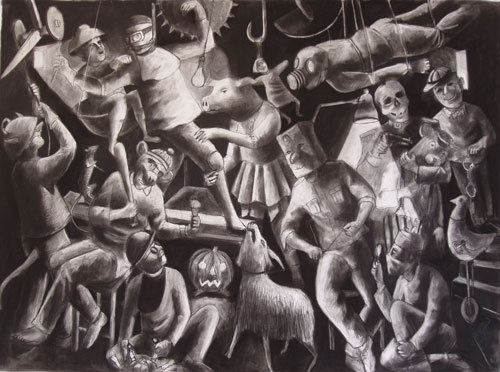 <p>Andrew Antoniou. <em>Epitaph for the fallen</em>, 2011. Charcoal and conté on paper, 90 x 123 cm. © the artist.