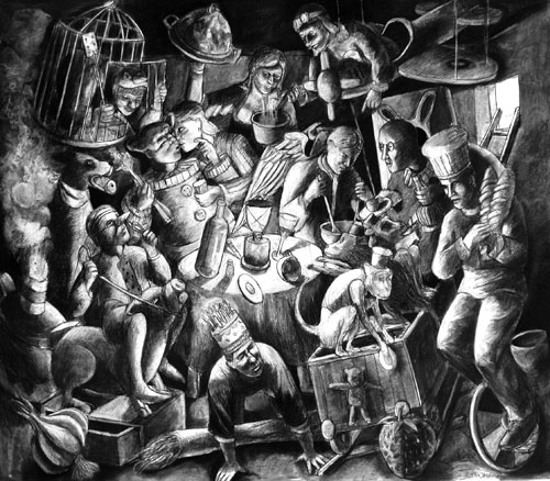 <p>Andrew Antoniou. <em>Familiar feasting</em>, 2009. Charcoal and conté on paper, 118 x 136 cm. © the artist.