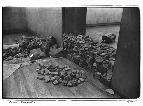 Shigeo Anzai, Jannis Kounellis, The 10th Tokyo Biennale '70 - Between Man and Matter, Tokyo Metropolitan Art Museum. May, 1970. Resin-coated silver print. Courtesy the artist and White Rainbow, London.