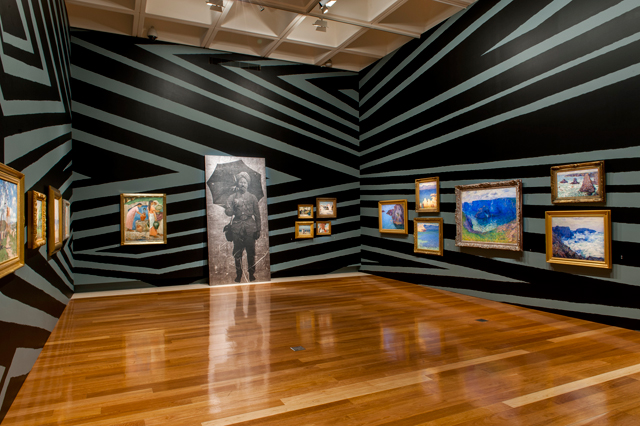 Brook Andrew. Wiradjuri people, Intervening time, 2015. Museum intervention including TIME 2012, wall painting, and works from the Queensland Art Gallery Collection. Courtesy: The artist and Tolarno Galleries, Melbourne. Collection: Queensland Art Gallery.