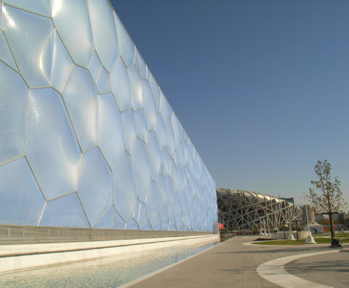 View of the Water Cube from the southeast towards the National Stadium.