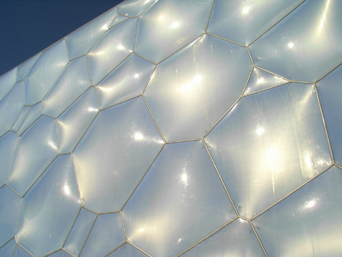 The ETFE pillows looking metallic silver.