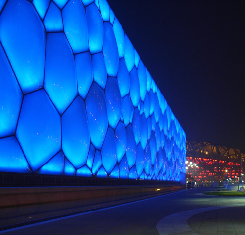 A close-up of the ETFE pillow at night.