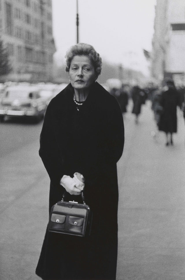 Diane Arbus. Woman with white gloves and a pocket book, N.Y.C. 1956. © The Estate of Diane Arbus, LLC. All Rights Reserved.