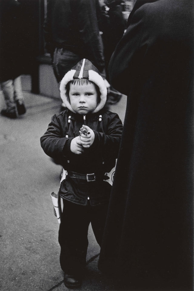 Diane Arbus. Kid in a hooded jacket aiming a gun, N.Y.C. 1957. © The Estate of Diane Arbus, LLC. All Rights Reserved.
