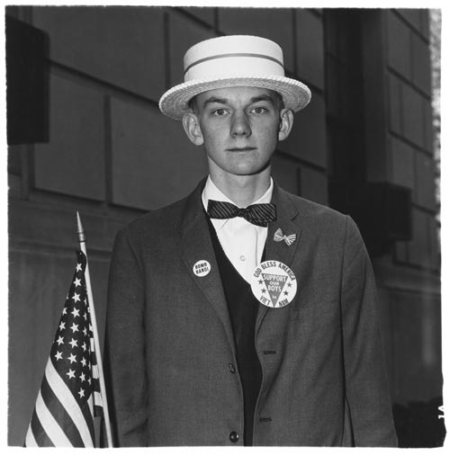 Boy with straw hat waiting to march in a pro-war parade, N.Y.C. 1967. Copyright © 1969 The Estate of Diane Arbus, LLC
