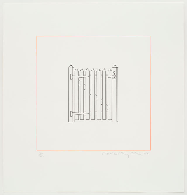Michael Craig-Martin. Gate, 2015. Letterpress editioned print, 48.2 x 48.2 cm. Courtesy of Michael Craig-Martin and Alan Cristea Gallery.